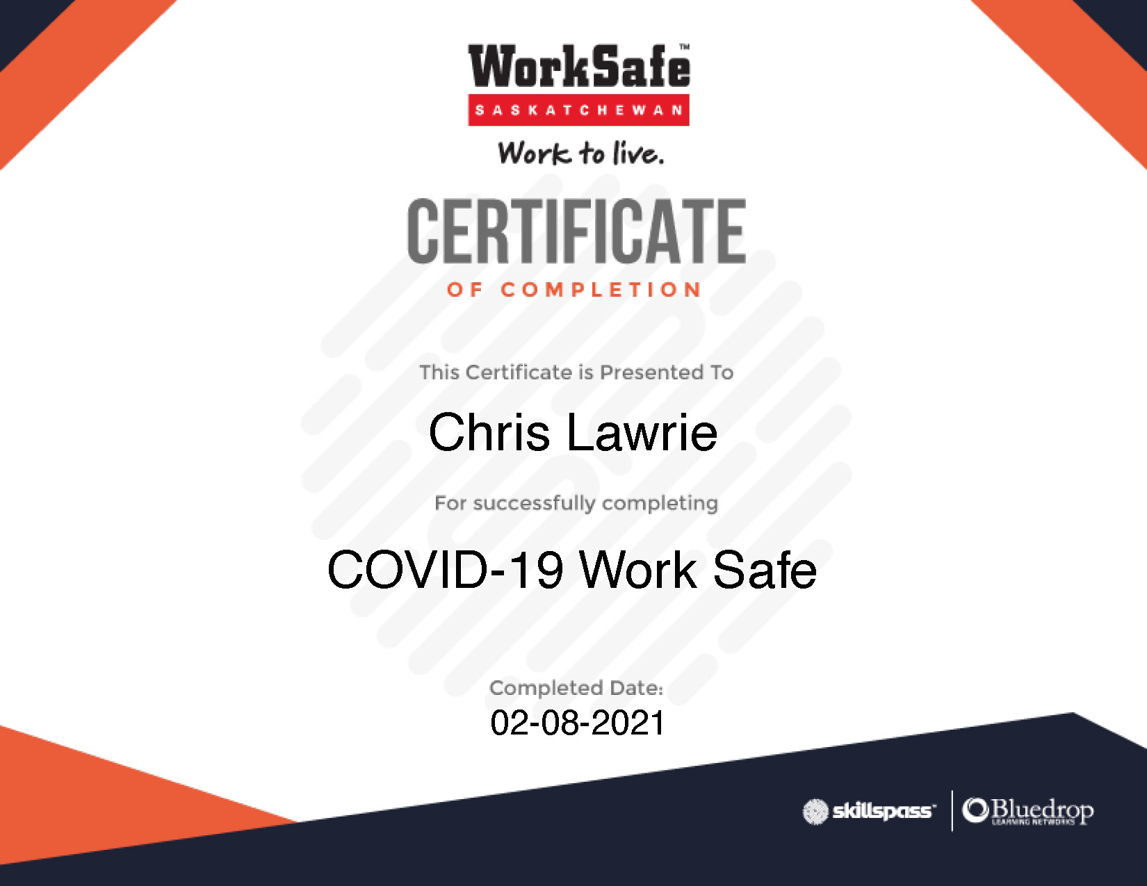 Work Safe Certificate of Completion